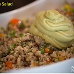 Quinoa salad with herbs, avocado mousse, and olive oil-citrus dressing