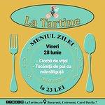 🍴 Vă așteptăm #LaTartine #Cotroceni cu #MeniulZilei (#Vineri, 28 Iunie) la 23 lei: - Ciorbă de vițel - Tocăniță de pui cu mămăliguță  * în limita stocului disponibil P.S. Nu ratați cele mai delicioase #tartine si #FructeDeMare #LaTartineCotroceni #Bucuresti