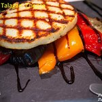 Grilled vegetables with aged balsamic and grilled talagani cheese