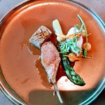 Lamb chop, carre and asparagus