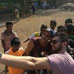 Selfie time with kids in Dharavi slum.