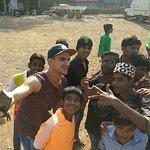 Selfie time with Dharavi slum kids.