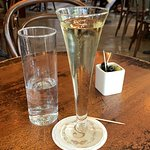 Champagne and olives at Scossa