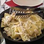 Mezzi paccheri alla Mediterannea con Pesce Spada e Scaglie di Pecorino Mediterannean half paccheri with Swordfish and Pecorino flakes