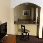 Little seating/bar area. I would guess this used to be a kitchenette. No kettle, coffee maker or microwave in the room.