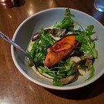 Spicy vegan curry - grilled sweet potato, eggplant, snap pea, cauliflower & black rice.