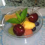 Fresh fruit cup with freshly picked mint from the garden...Always a great breakfast awaits :)