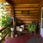 The charming porch and front door at Cedar Mountain Farm B&B
