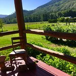 Looking off the porch toward the pastures and mountains...