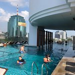 Pool deck with good view of the impressive buildings on the river