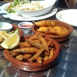 calamari, whitebait and honey chicken tapas
