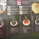 The lists of items in the Menu