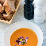 Cold melon–tomato soup with rhubarb and octopus