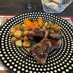 Lamb chops. Note the wonderful plate!