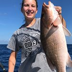 Huge mangrove snapper from today's deep sea fishing charter.