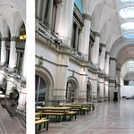 2 photos of the Great Hall in the Nordic Museum.