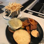 The veggie burger (comes with chips) and side of fries.