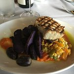 Salmon, purple potatoes and summer succotash at 22 Bowen's