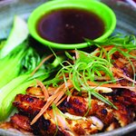 Coal BBQ Chicken- Fresh BBQ Chicken with Caramelised Ginger & Lemongrass Glaze, White Rice & Pak Choi.