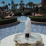 Vue de la terrasse de l hotel  Au fond après  les palmiers on traverse la route et c est la plage