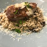 Risotto with Mushrooms, Grilled pork fillet and Bacon