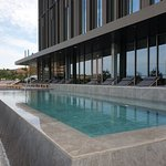 Outdoor heated seawater infinity pool