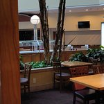 Breakfast buffet and evening reception area.