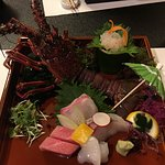 Lobster sashimi, coz it's rainy season, they've decorated with an umbrella and a little frog, how cute!