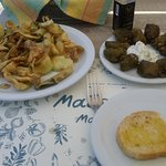 My tasty lunch, fried courgettes and Dolmadas