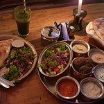 Vegetarian combo platter and cheese burek