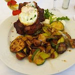 beefsteak with egg and grill vegetables