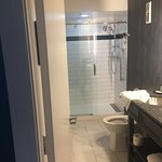 Very nice bathroom in our room at the Commonwealth hotel