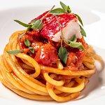 """Spaghettone """"Vicidomini"""", Cornish blue lobster, Piennolo tomato from the Vesuvio"""