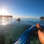 Snorkeling and floating off our bungalow