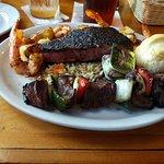 Beef kabob with shrimp and ahi tuna