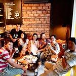 happy friends enjoying great coffee.