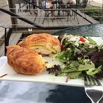 The Chicken Croissant Sandwich with an intriguing house salad. My husband raved about the light