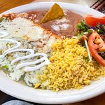 Combination platter with two cheese enchiladas