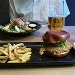 Salmon salad and chicken burger