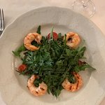 Arugula with shrimp
