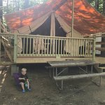 Exterior of the Safari Tent (modeled by my son). Awesome tent but very small area outside and we had to park in the road.