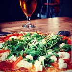 Lobster Pizza and a Local beer