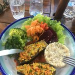 Berinjela (eggplant) with rice and fresh salad - Very tasty vegan meal!