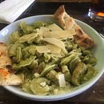 Pesto, chicken, homemade pasta...I couldn't finish it and it was very tasty.