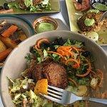 falafel salad and the Ayaso burger