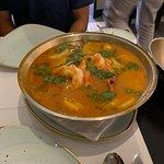 Cataplana - made with monk fish and prawns, potatoes, veggies.