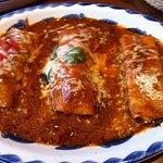 Enchilada trio: brisket, chicken, and cheese.