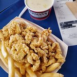 Gluten Free Fried Clams, Fries and Clam Chowder