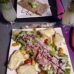 Salade des alpes et crêpes poireaux  noix de st jacques
