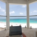 Husband working from our room over looking shoal bay